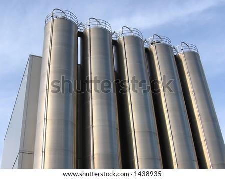 Steel Industrial Silo - stock photo