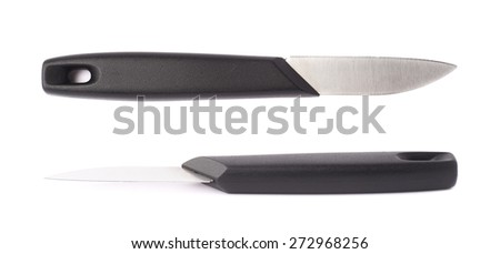 Steel kitchen knife with the black plastic handle isolated over the white background, set of two different foreshortenings - stock photo