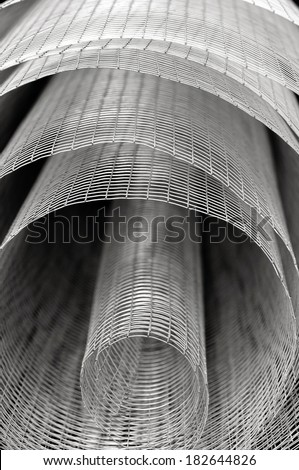 steel mesh in the roll, closeup - stock photo