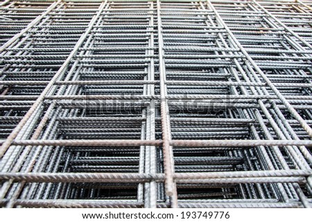 steel mesh used to make reinforced concrete - stock photo