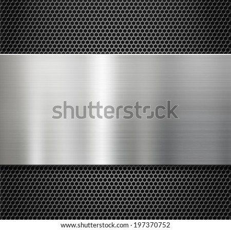 steel metal plate over comb grate background - stock photo