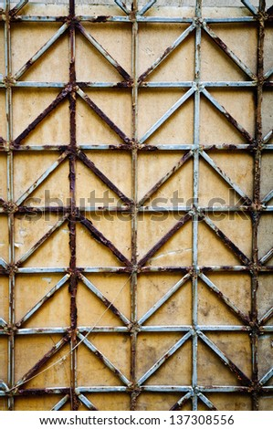 Steel Metal wall fence - stock photo