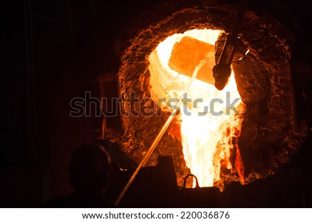 steel, metallurgy, metal, foundry, iron, factory, furnace, smelting, casting, molten, liquid, melting, hot, industry, plant, gold, industrial, red, pouring, mill, work, manufacturing, fire, heat, - stock photo