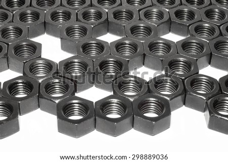 Steel nut pattern for background.
