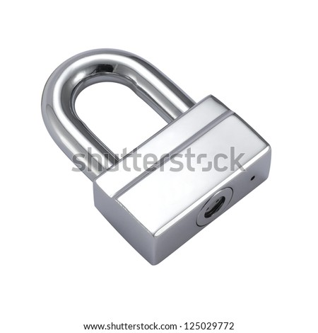 steel padlock - stock photo