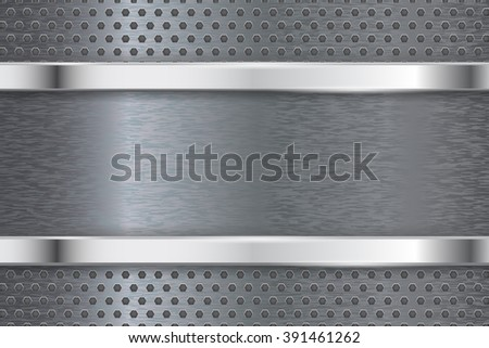 Steel perforated background with rectangular metallic plate. Raster version - stock photo