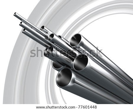 Steel Pipe on abstract grey background - stock photo