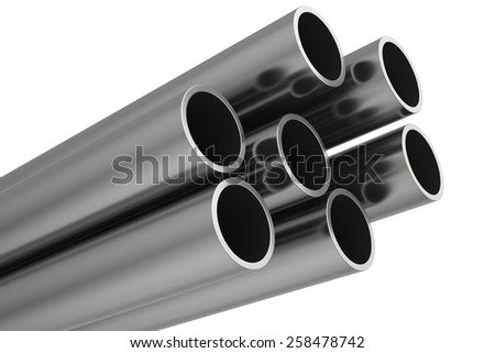 Steel Pipes on a white background. 3d illustration. - stock photo