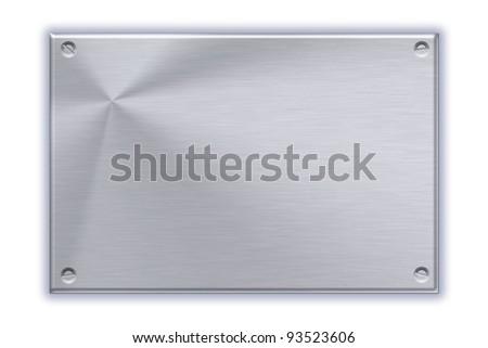 Steel plate on plain background - stock photo