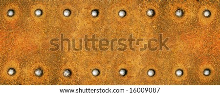 Steel plate with brilliant rivets - stock photo