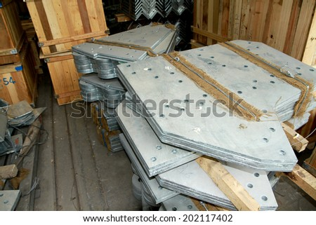 Steel plates bunch in warehouse
