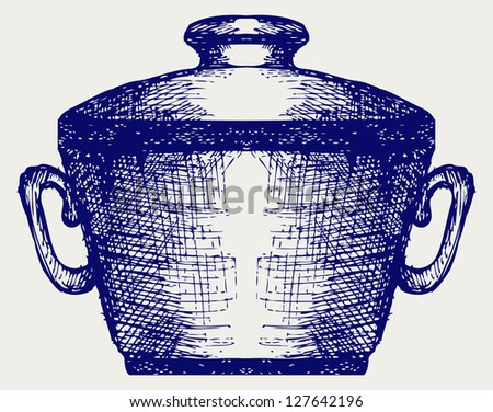 Steel pot. Doodle style. Raster version - stock photo