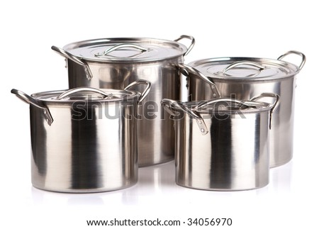 steel pots isolated on a white background