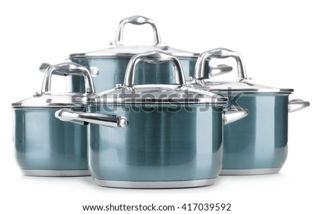 Steel pots isolated on white background.