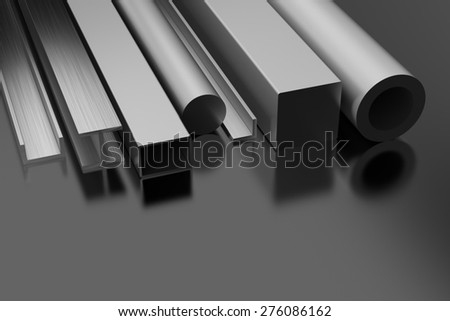Steel Products on black background - stock photo