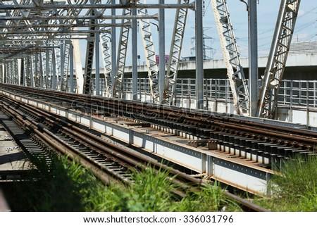 steel railway bridge - stock photo