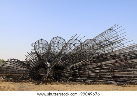 steel rebar component in a construction site, North China. - stock photo
