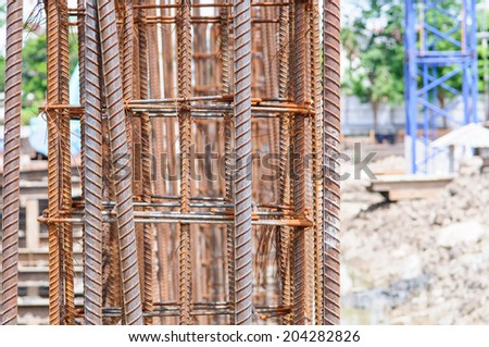 Steel rebar used for construction site building project - stock photo