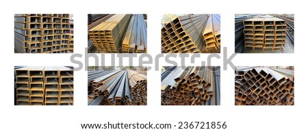 Steel rectangular pipes and girder bunches collage in warehouse against a white background - stock photo