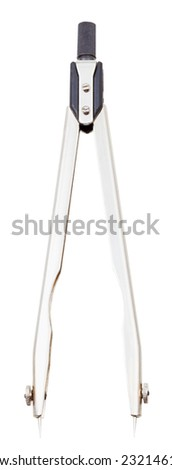 steel regular pair of divider calipers isolated on white background - stock photo