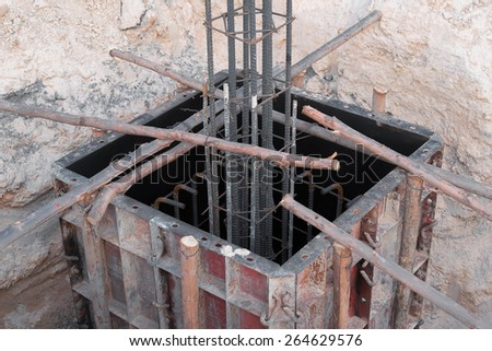 steel rod for poles  construction - stock photo