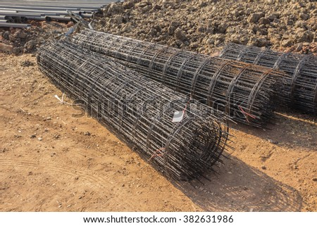 Steel rods for securing steel bars and wire rod for reinforcement of concrete at construction site.