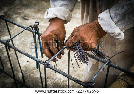 Steel rods or bars used to reinforce concrete technicians. - stock photo