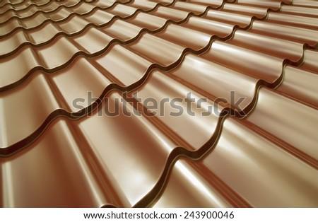 Steel roof painted in golden color. Golden roof. - stock photo