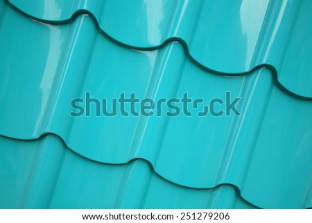 Steel roof texture painted in green color - stock photo