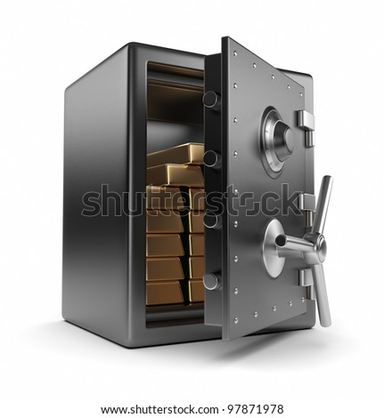 Steel safe box and gold 3D. Protection concept. Isolated on white background