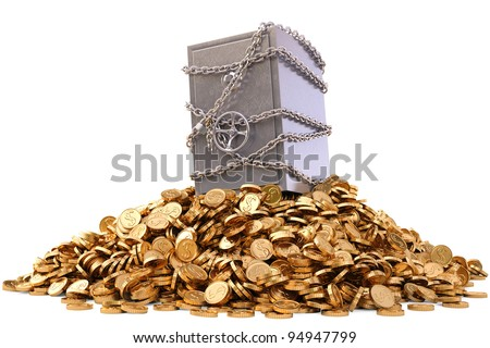 steel safe in chains on a pile of gold coins. isolated on white. - stock photo