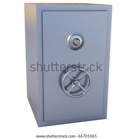 steel safe with the door closed. isolated on white. - stock photo