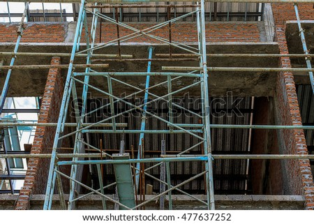 steel scaffolding in building area