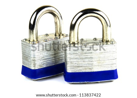 Steel security padlocks isolated on white - stock photo