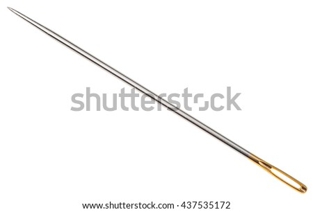 steel sewing needle with golden needle's eye isolated on white background