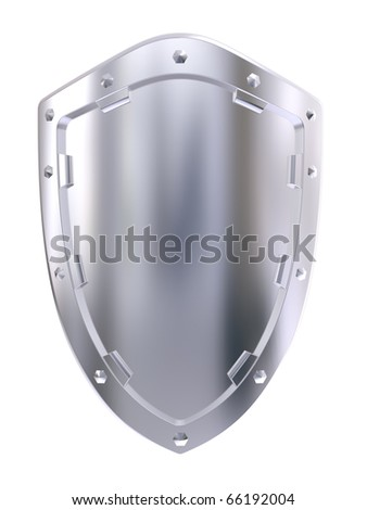 Steel shield isolated on a white background - stock photo