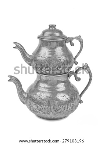 Steel silver teapot isolated on white background