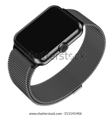 Steel smart watch in perspective with black screen isolated on a white background 3d render