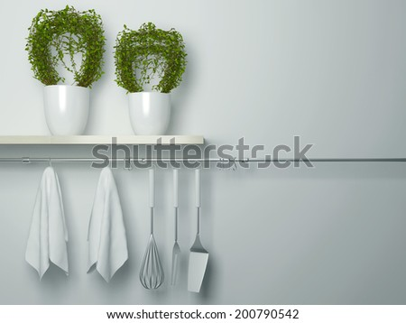 Steel spatulas, whisk and towel in front of wall. Flower pot on the wooden shelf, kitchen cooking utensils. Copy space over wall area. - stock photo