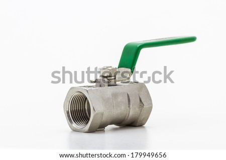 Steel (Sphere) valve on white (with clipping paths) isolate on white background. - stock photo