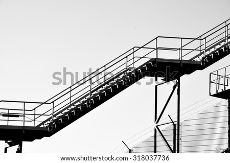 Steel staircase of industry in black and white