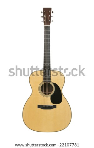 Steel-string acoustic guitar isolated on white. - stock photo