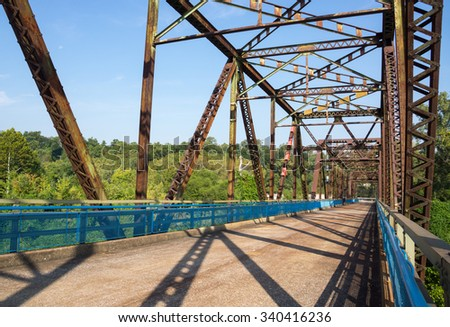 steel structure of old chain of rocks bridge in St Louis - stock photo