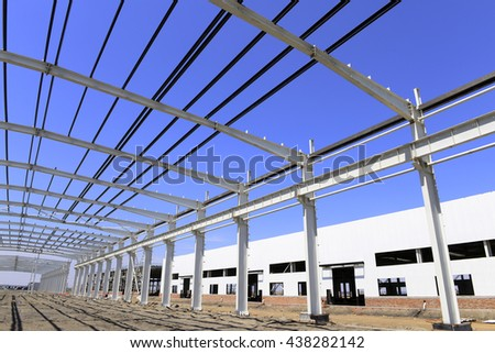 Steel structure workshop is under construction  - stock photo