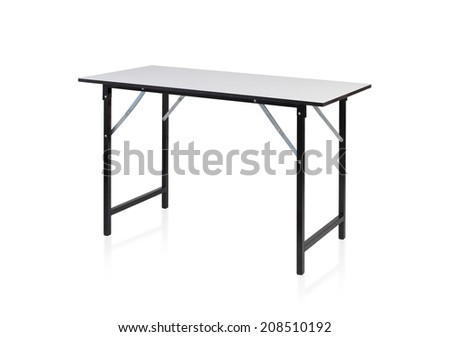 Steel table with white top isolated on white background - stock photo
