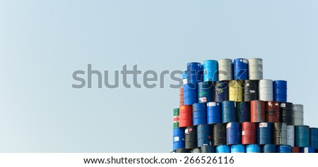 steel tank with blue sky - stock photo