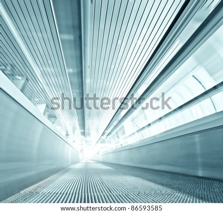 steel texture of contemporary escalator in business center - stock photo