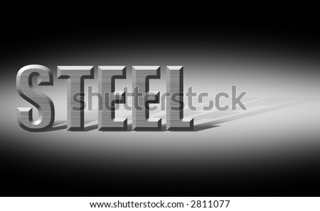 Steel  textured letters spotlighted on black background with cast shadow