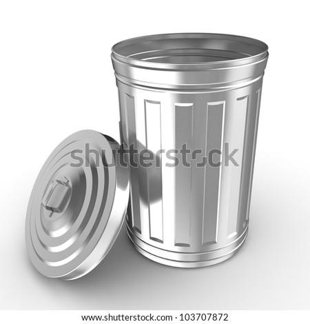 Steel trash can - stock photo