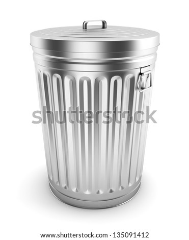 Steel trash can isolated on white. - stock photo